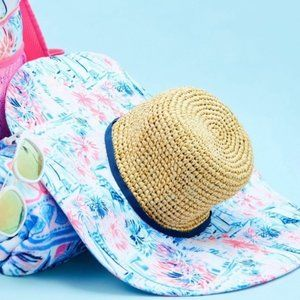 NEW Lilly Pulitzer Straw Beach Hat Crew Blue Sea